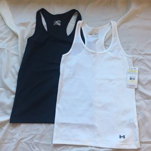 Under Armour racerback tank tops in black & white